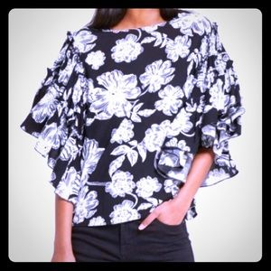 Who What Wear Ruffled Sleeves Top
